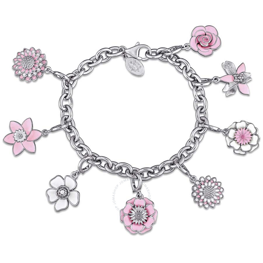 Laura Ashley Botanical Collection Multi-Flower Charm Bracelet in Sterling Si..