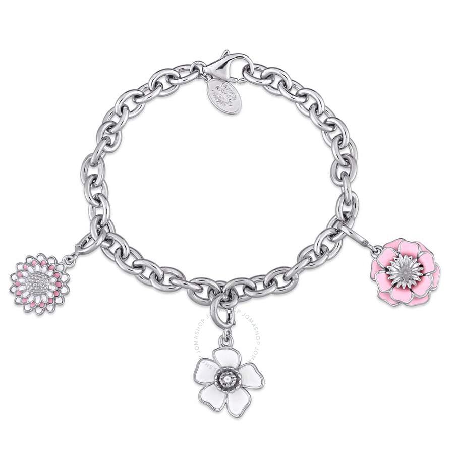 Laura Ashley Botanical Collection Triple Flower Charm Bracelet in Sterling S..