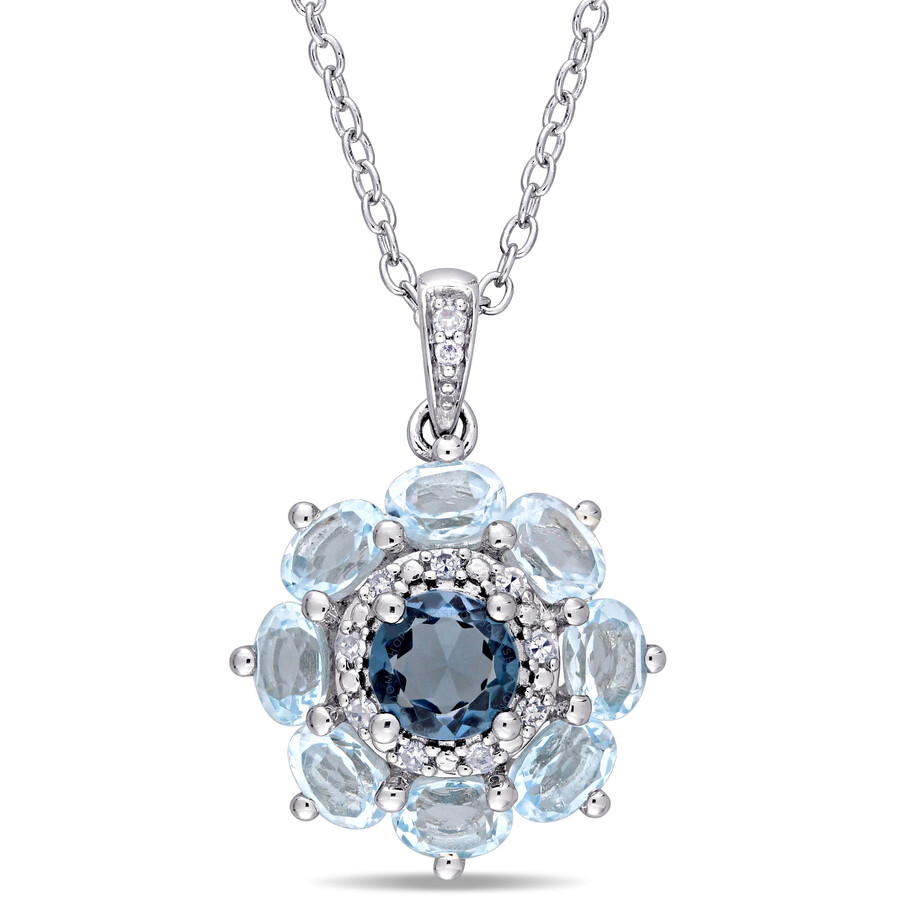 Laura Ashley English Garden Sterling Silver Topaz and Diamond Necklace JMS00..