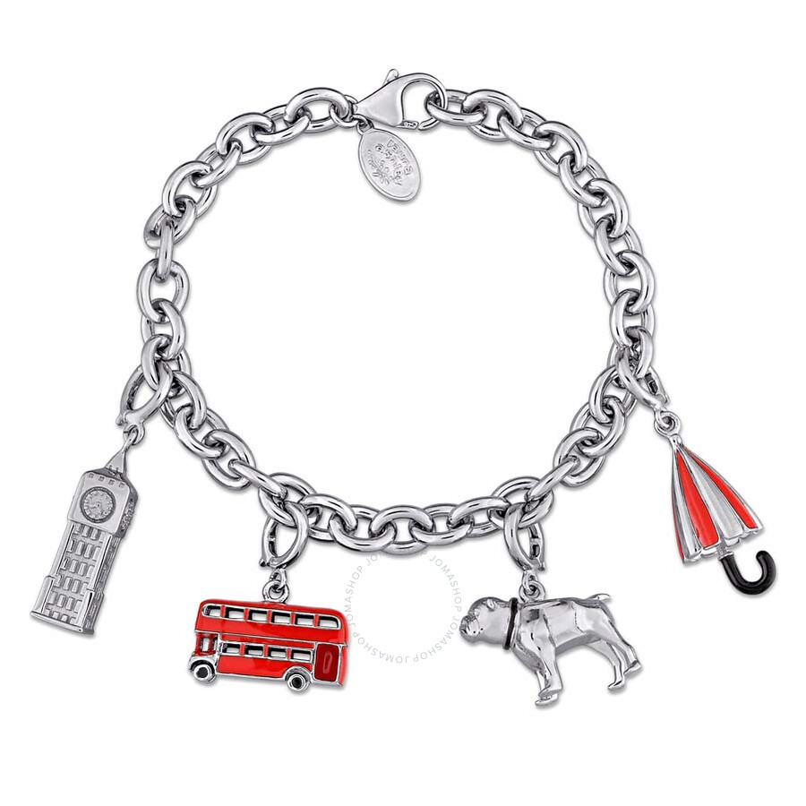 Laura Ashley Great Britain Collection Themed Charm Bracelet in Sterling Silv..