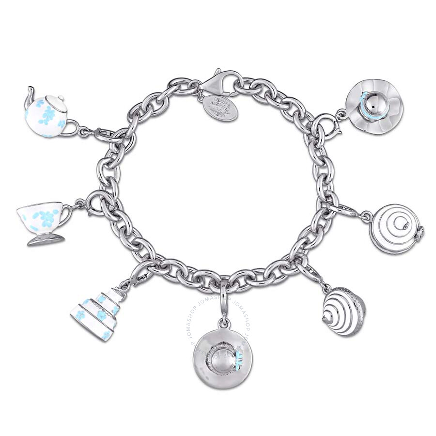 Laura Ashley Jubilee Collection Created White Sapphire Charm Bracelet in Ste..