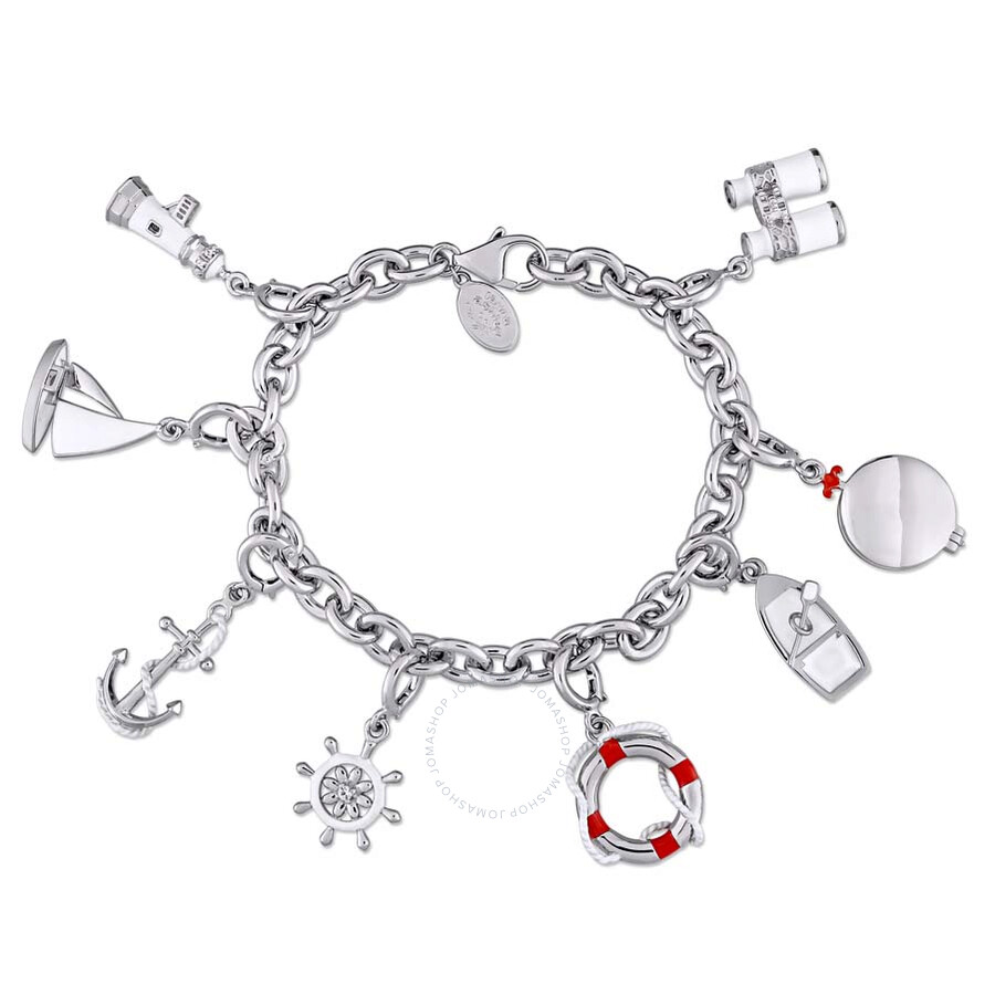 Laura Ashley Nautical Collection Charm Bracelet in Sterling Silver with Red ..
