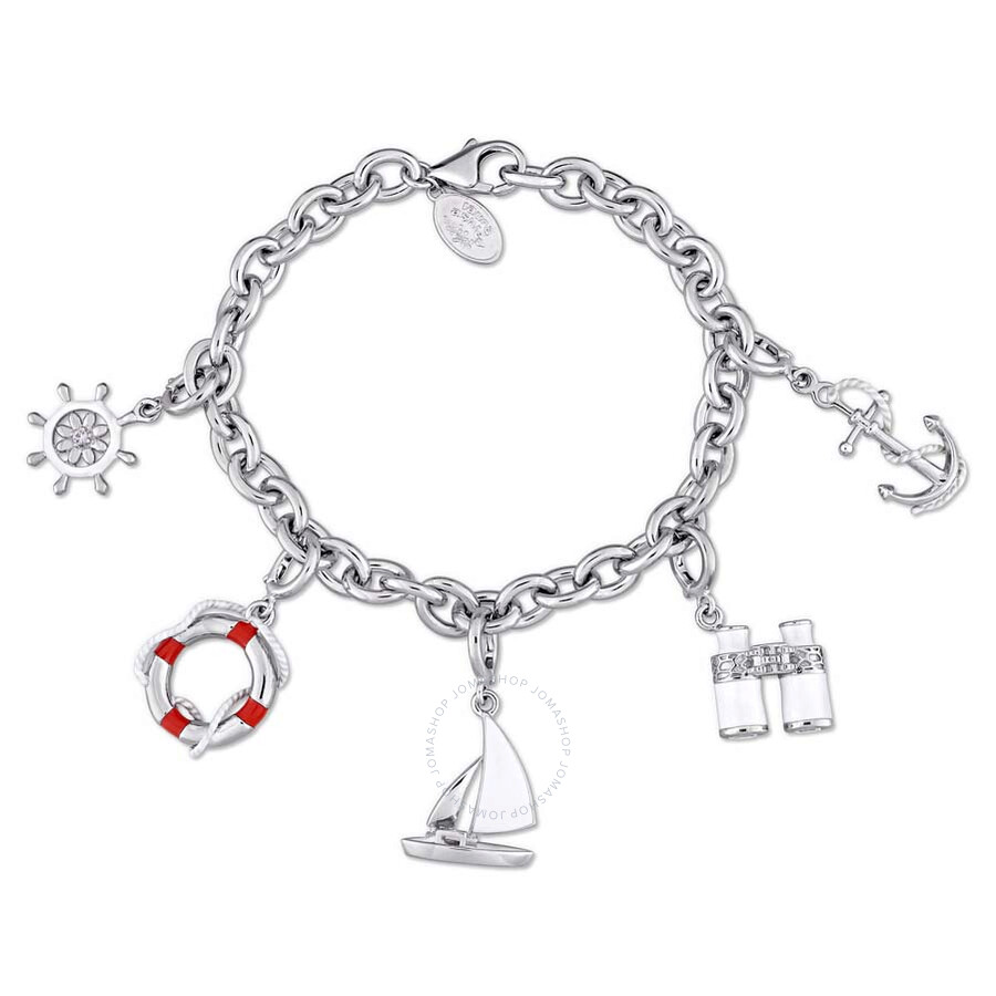 Laura Ashley Nautical Collection Created White Sapphire Charm Bracelet in St..