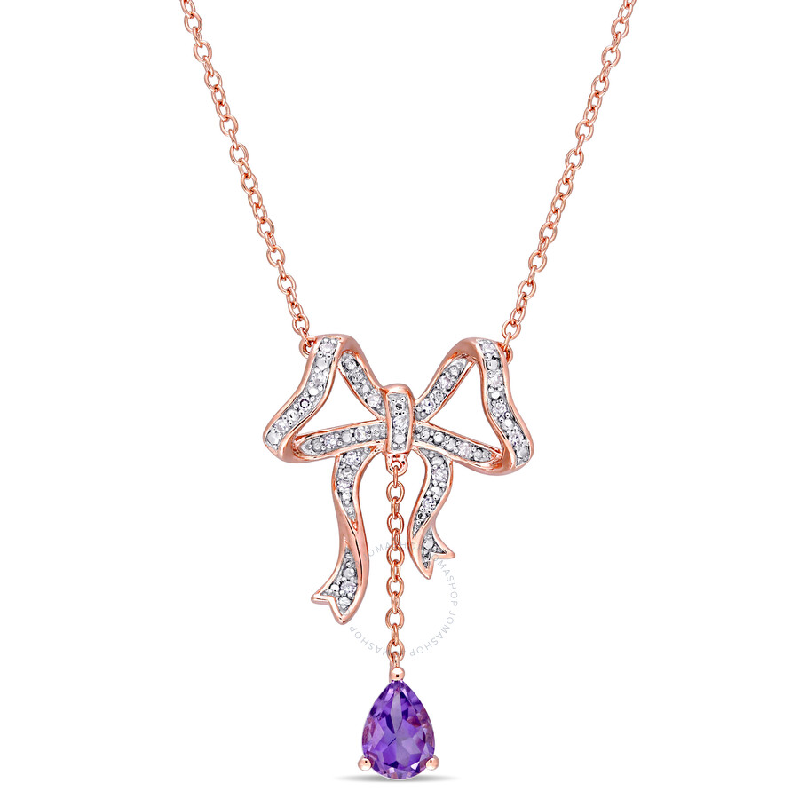 Laura Ashley Ribbons and Bows Rose Gold Plated Amethyst Necklace JMS004002