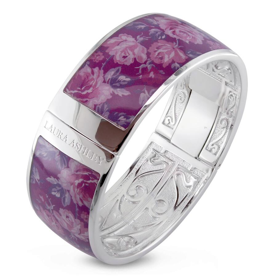 Laura Ashley Vintage Design Purple Floral Enamel Bangle JMS004105