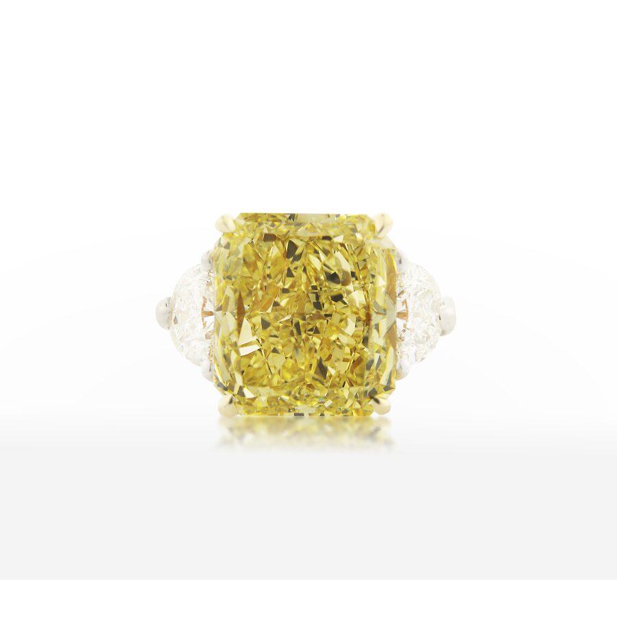 Magnificent Splendid Radiant Yellow Diamond Ring  5.92 CT