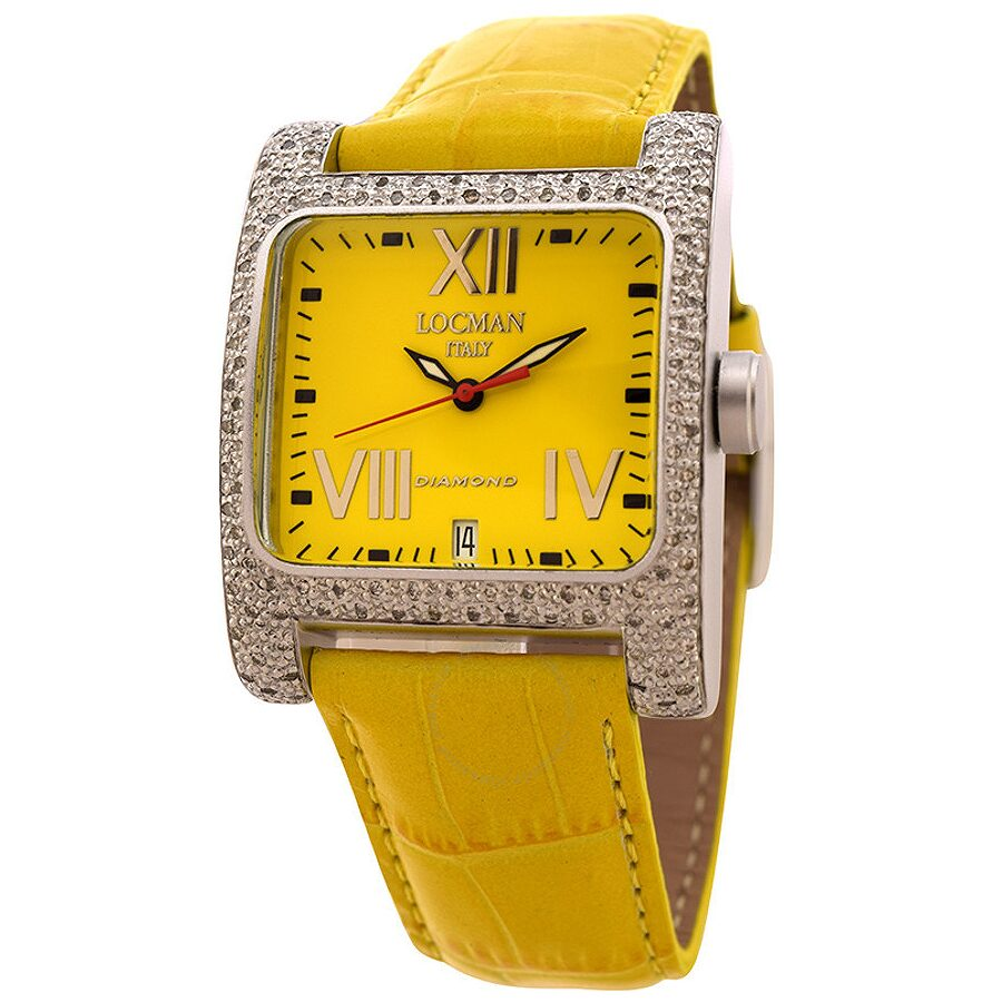 Locman Diamond Quadrato Yellow Dial Yellow Leather Ladies Watch LO-431YLD-YLLEAL