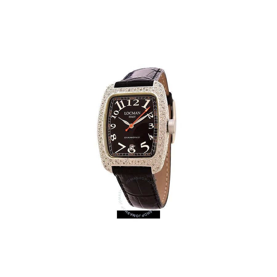Locman Diamond Tonneau Black Dial Black Leather Strap Ladies Watch LO-488BK2DC-BKLEAL