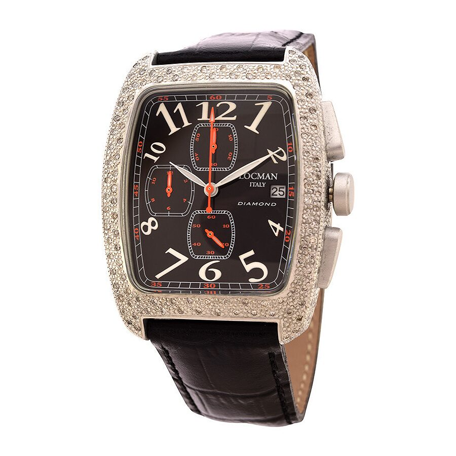 Locman Diamond Tonneau Chronograph Black Dial Black Leather Ladies Watch LO-487BK2DC-BKLEAL