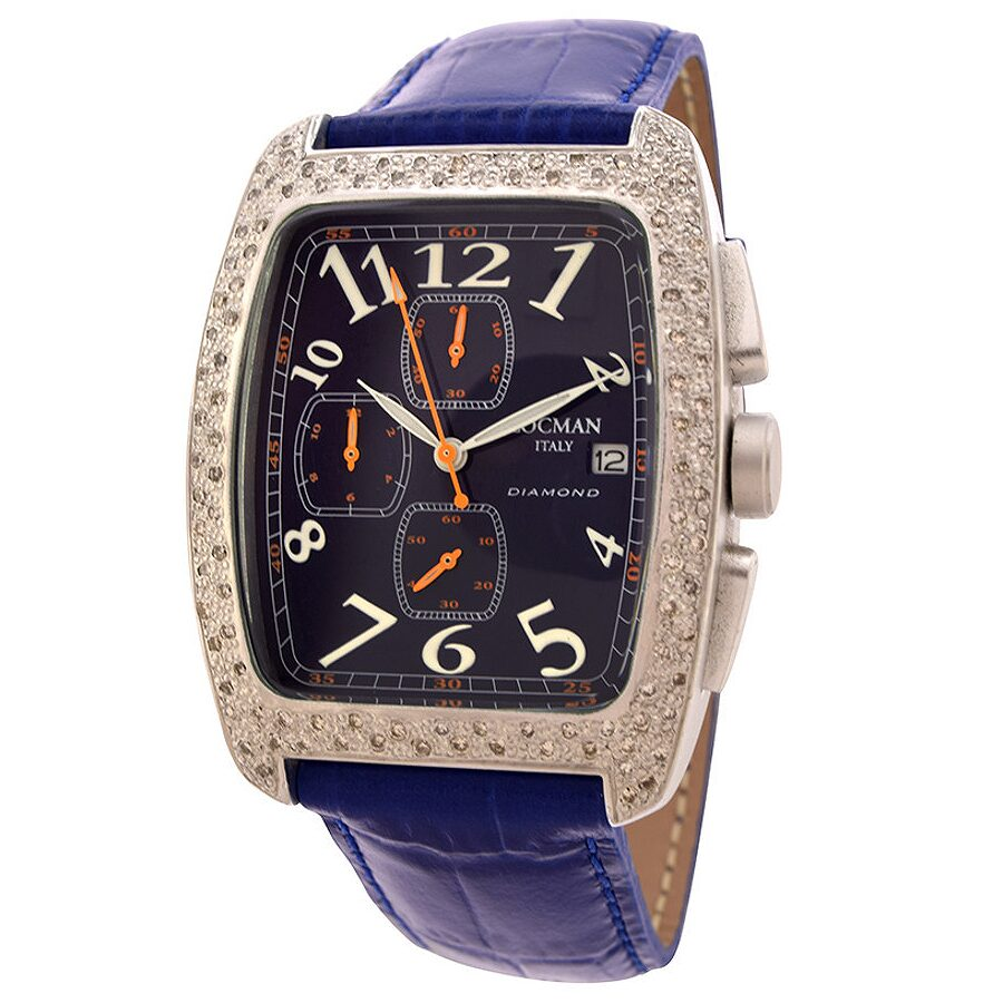 Locman Diamond Tonneau Chronograph Blue Leather Ladies Watch LO-487BL2D-BLLEAL