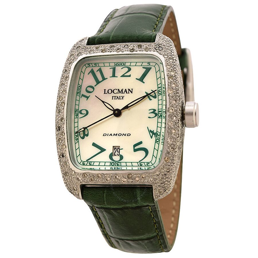 Locman Diamond Tonneau Mother of Pearl Dial Green Leather Strap Ladies Watch LO-488MOPGR2DC-GRLEAL