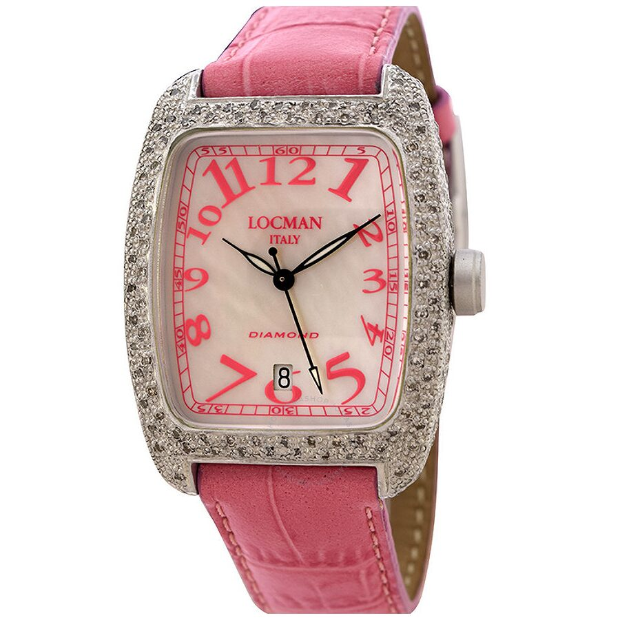 Locman Diamond Tonneau Mother Of Pearl Dial Pink Leather Strap Ladies Watch LO-488MOPPK2DC-PKLEAL