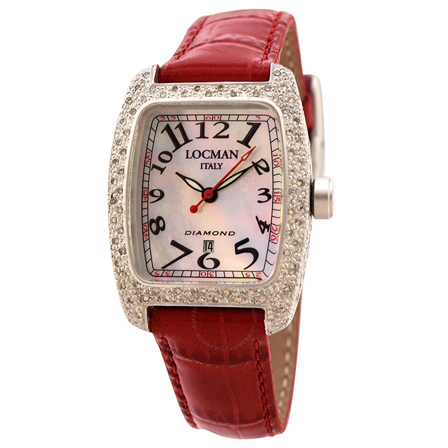 Locman Diamond Tonneau Mother of Pearl Dial Red Leather Strap Ladies Watch LO-485MOPBK2DC-RDLEAL
