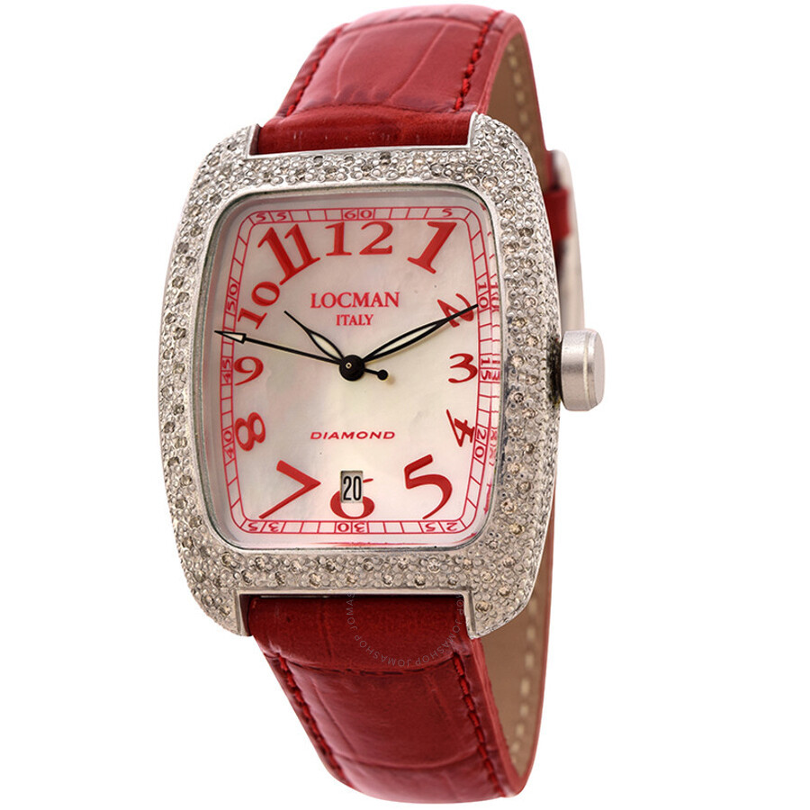 Locman Diamond Tonneau Mother of Pearl Dial Red Leather Strap Ladies Watch LO-488MOPRD2DC-RDLEAL