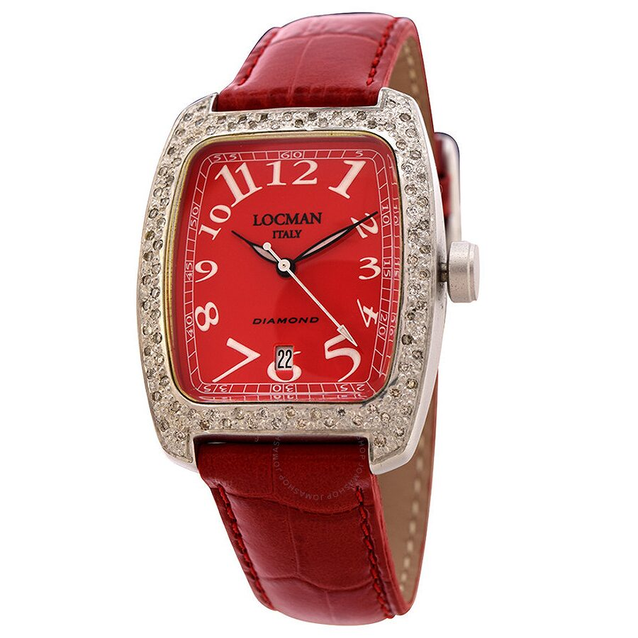 Locman Diamond Tonneau Red Dial Red Leather Ladies Watch LO-487RD2D-RDLEAL