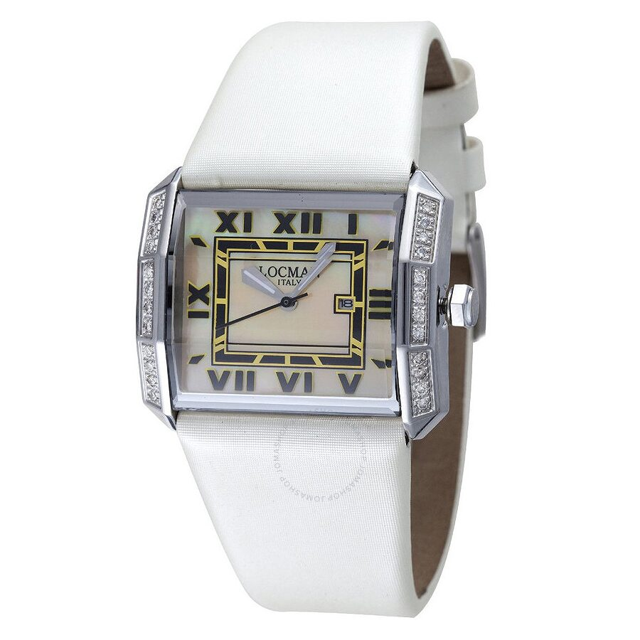 Locman Otto Diamond Mother of Pearl Dial White Satin Ladies Watch LO-232MOPWHDCWHSA