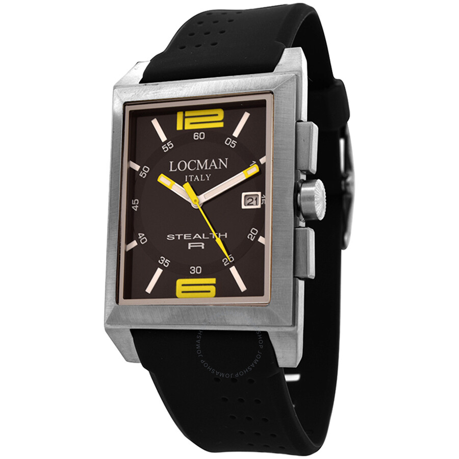 Locman Stealth R Black Dial Black Rubber Mens Watch LO-240BKYL1BK