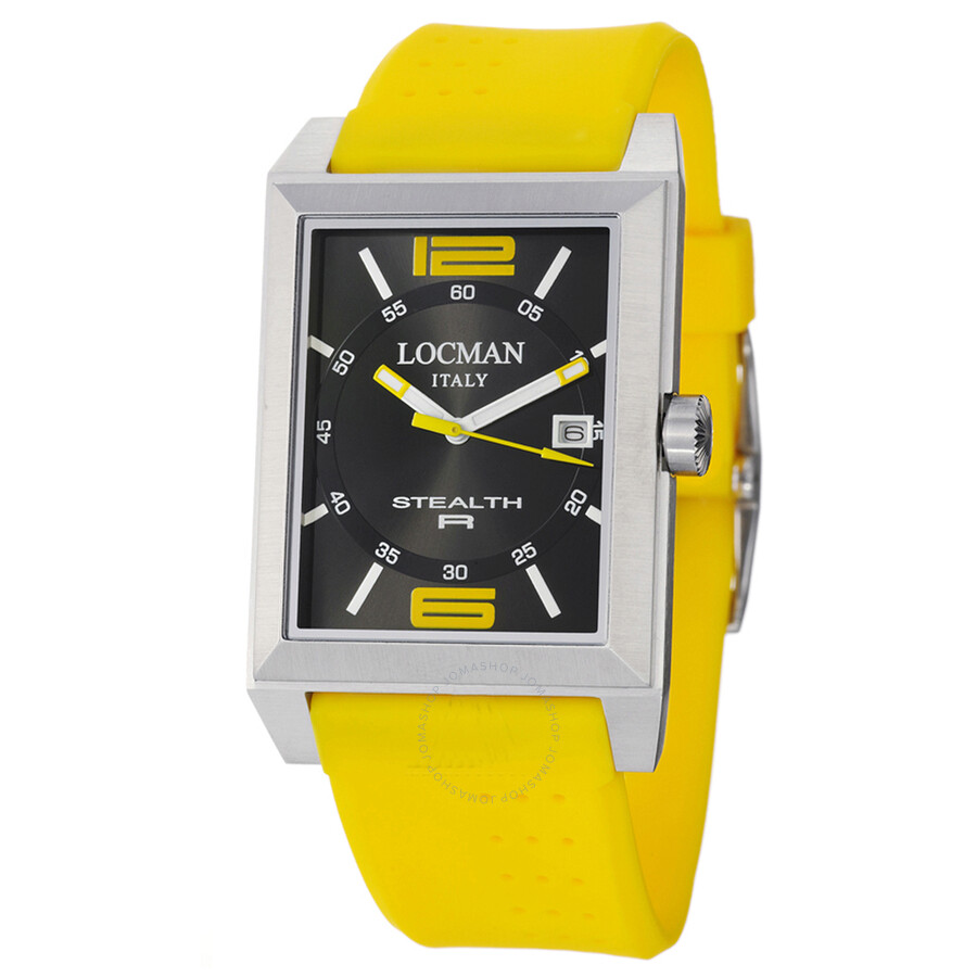 Locman Stealth R Black Dial Yellow Rubber Strap Mens Watch LO-240BKYL1YL
