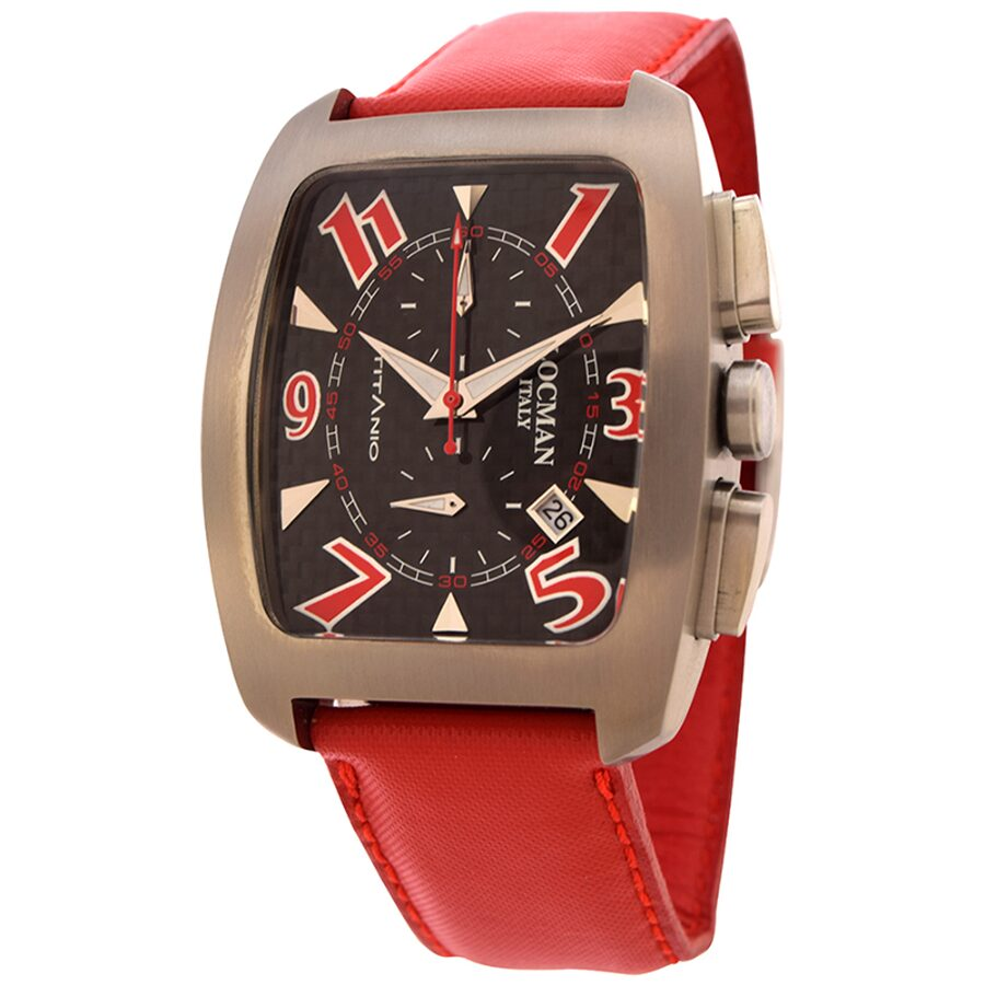 Locman Titanio Tonneau Chronograph Black Carbon Fiber Dial Red Leather Mens Watch LO-484CRBRD-RD