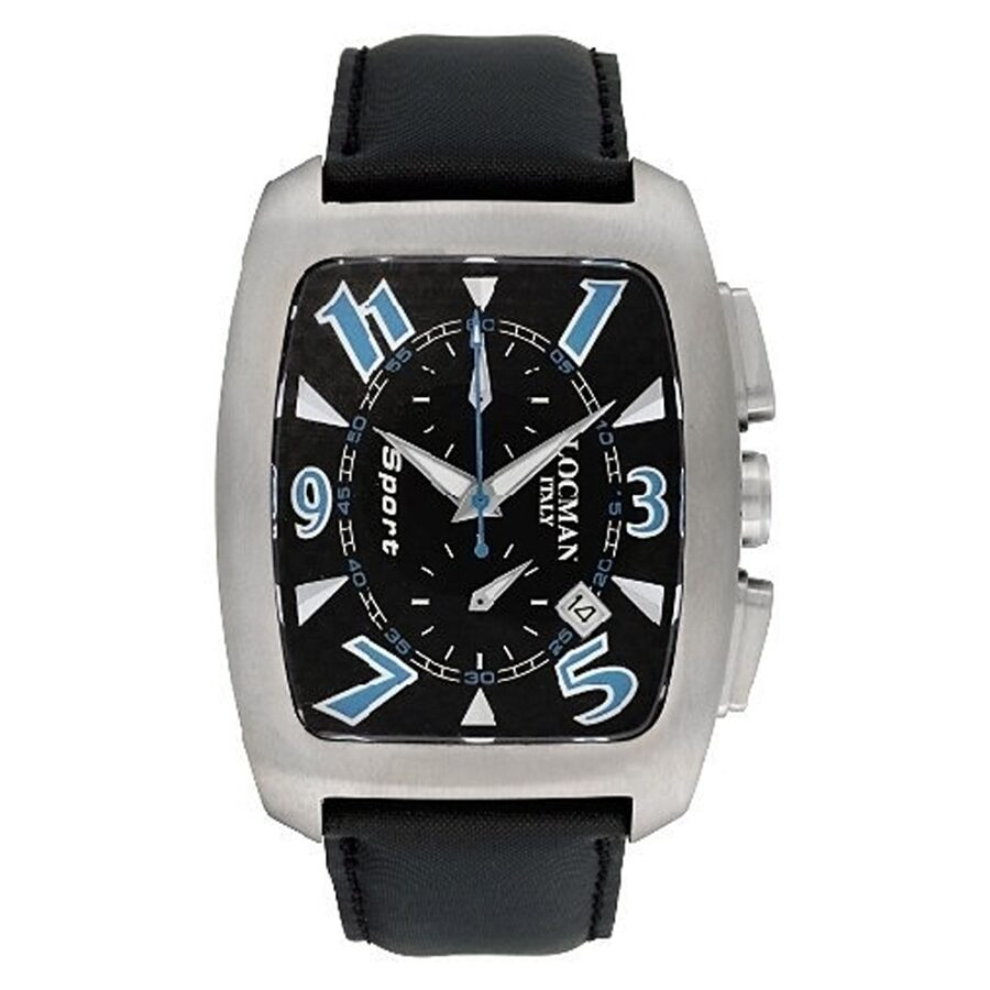 Locman Titanio Tonneau Chronograph Black Leather Strap Mens Watch LO-484CRBSK-BK