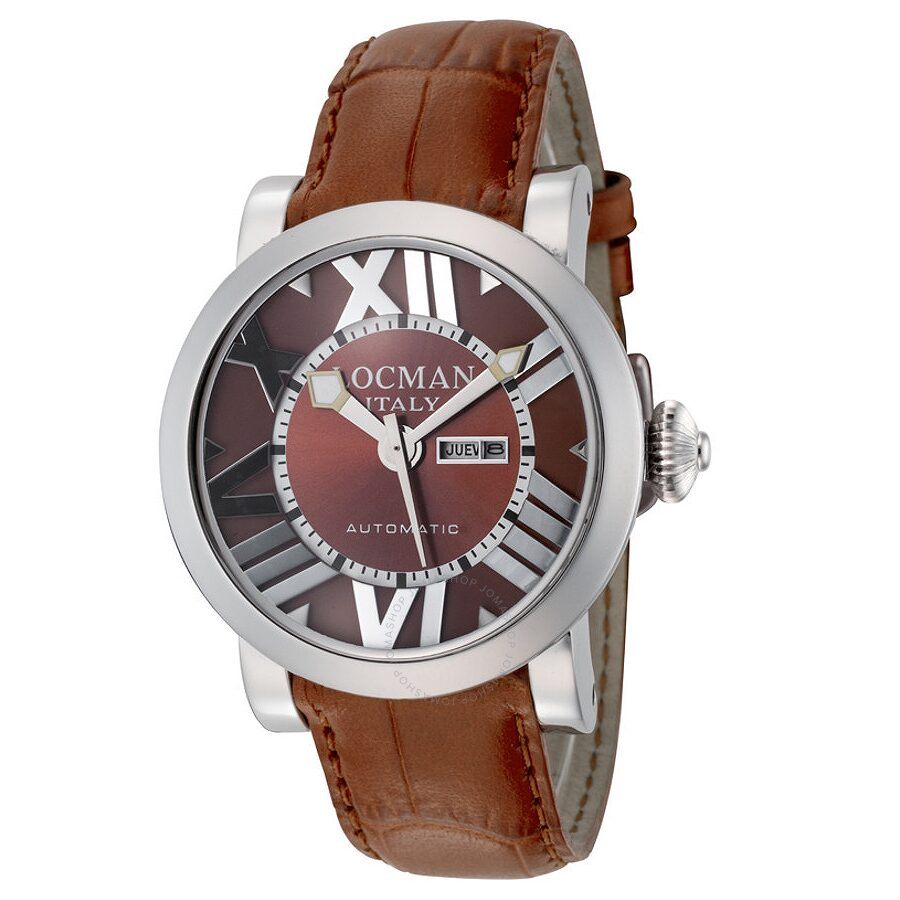 Locman Toscano Automatic Brown Dial Brown Leather Ladies Watch LO-293BR-BRLEAL
