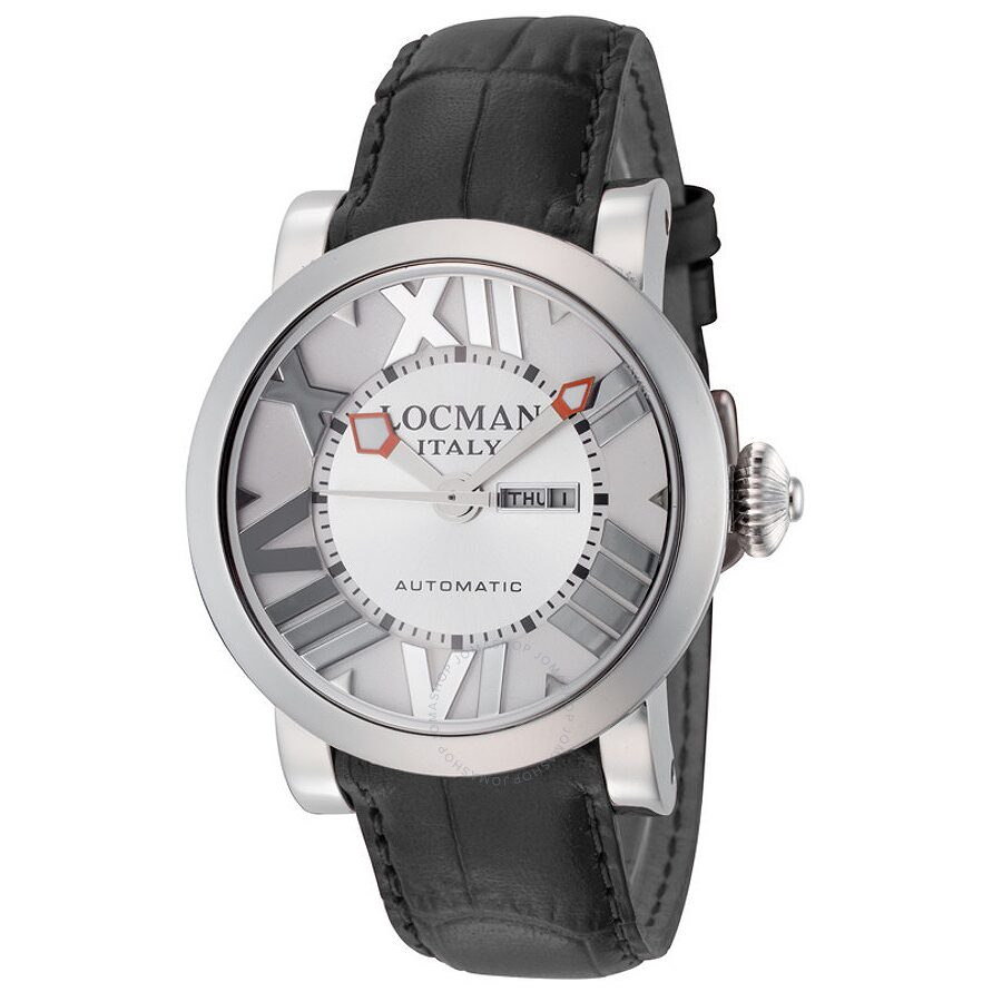 Locman Toscano Automatic Silver Dial Black Leather Ladies Watch LO-293WH-BKLEAL