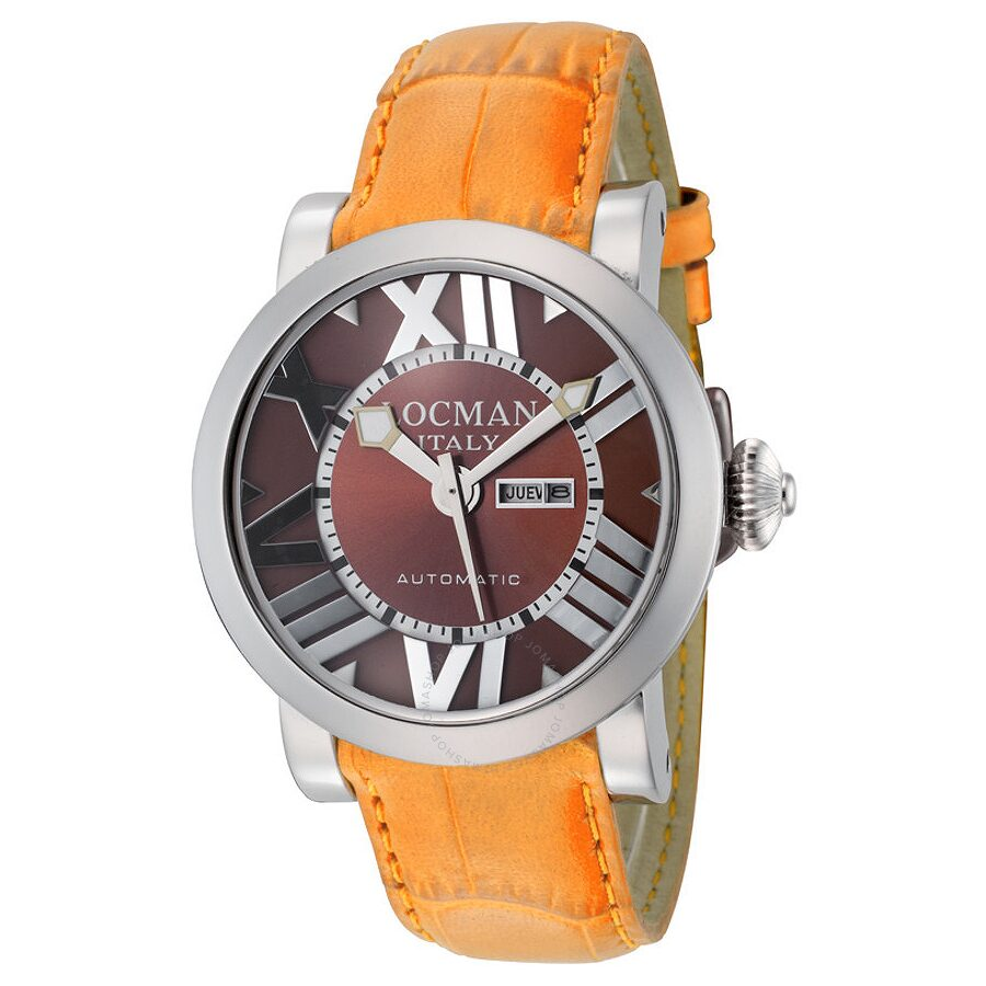 Locman Toscano Brown Dial Orange Leather Automatic Ladies Watch LO-293BR-ORLEAL