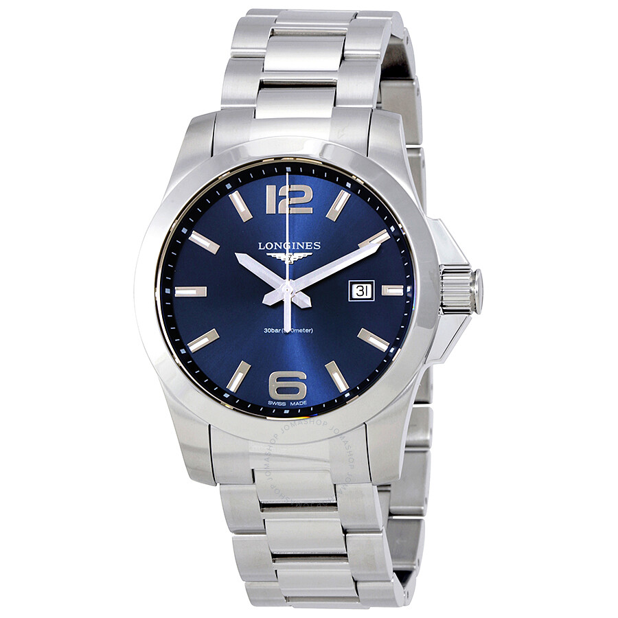 longines male longines conquest blue dial stainless steel mens watch l37604966