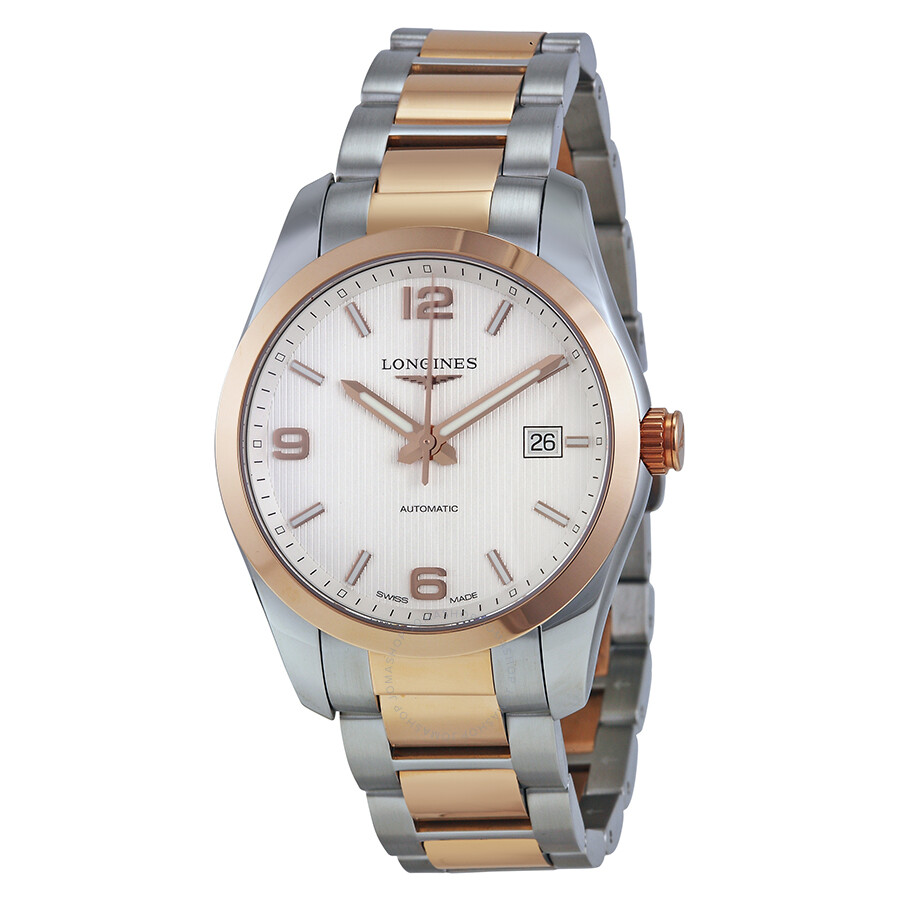 Longines Conquest Classic Automatic Silver Dial Stainless Steel and 18k Rose Gold Mens Wat