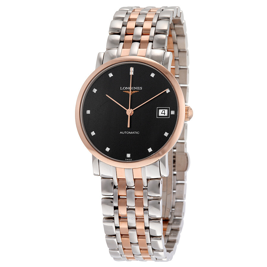 longines female longines elegant automatic black diamond dial steel and 18kt rose gold ladies watch l48095