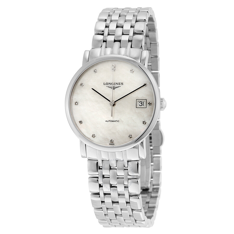 longines male longines elegant automatic mother of pearl mens watch l48094876