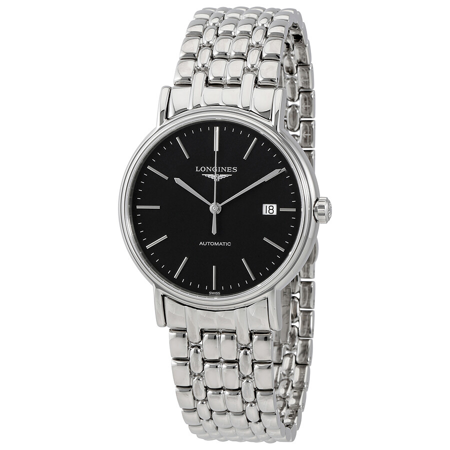 longines male longines presence automatic black dial mens watch l49214526