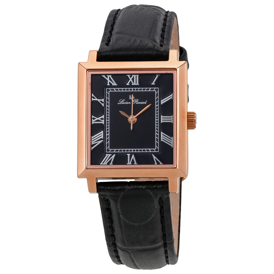 Lucien Piccard Bianco Black Dial Leather Ladies Watch 10502-RG-01