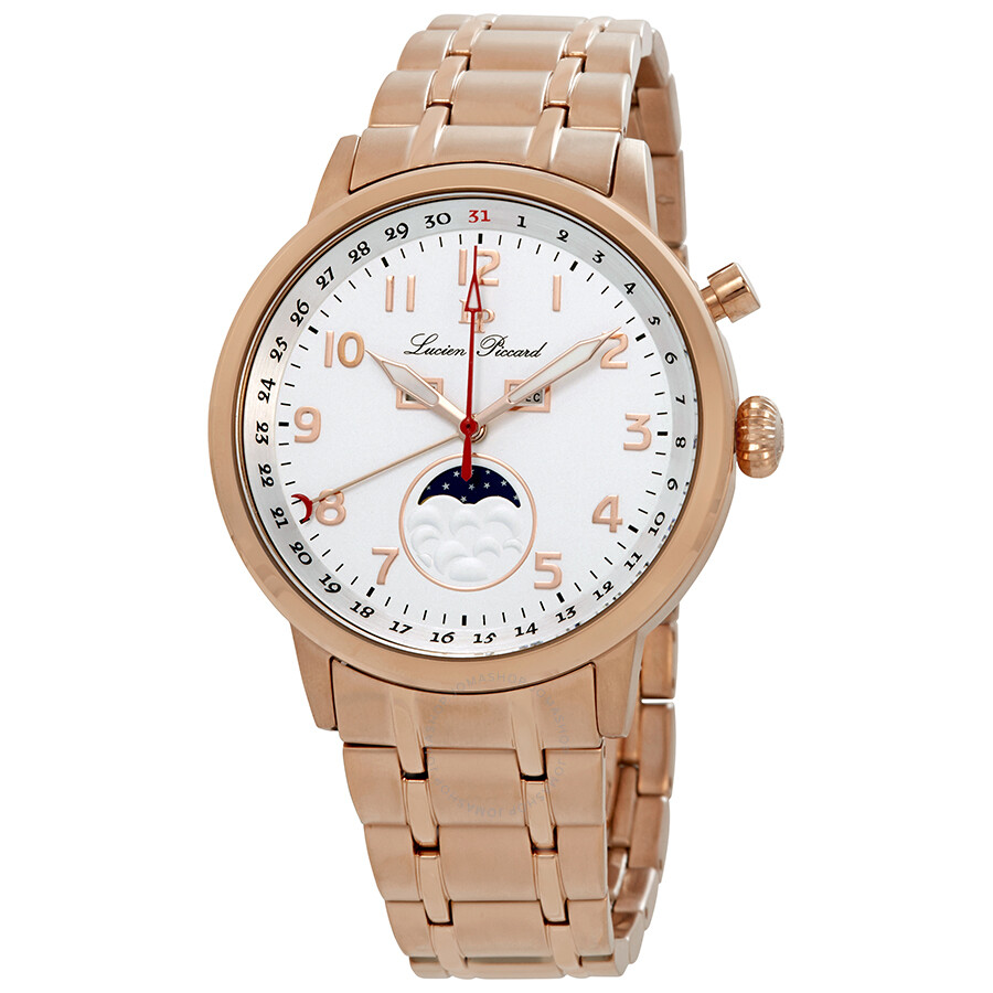 Lucien Piccard Complete Calendar White Dial Mens Watch 40016-RG-22S