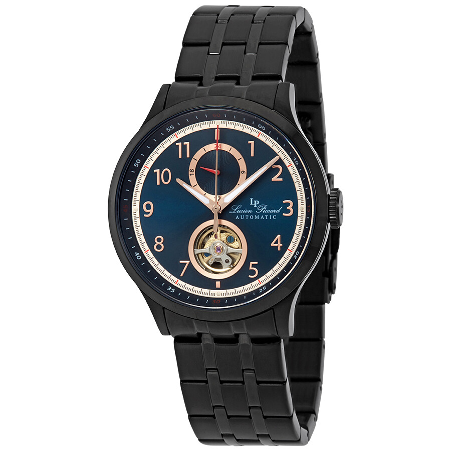 Lucien Piccard Open Heart GMT II Automatic Blue Dial Mens Watch LP-28010A-BB..