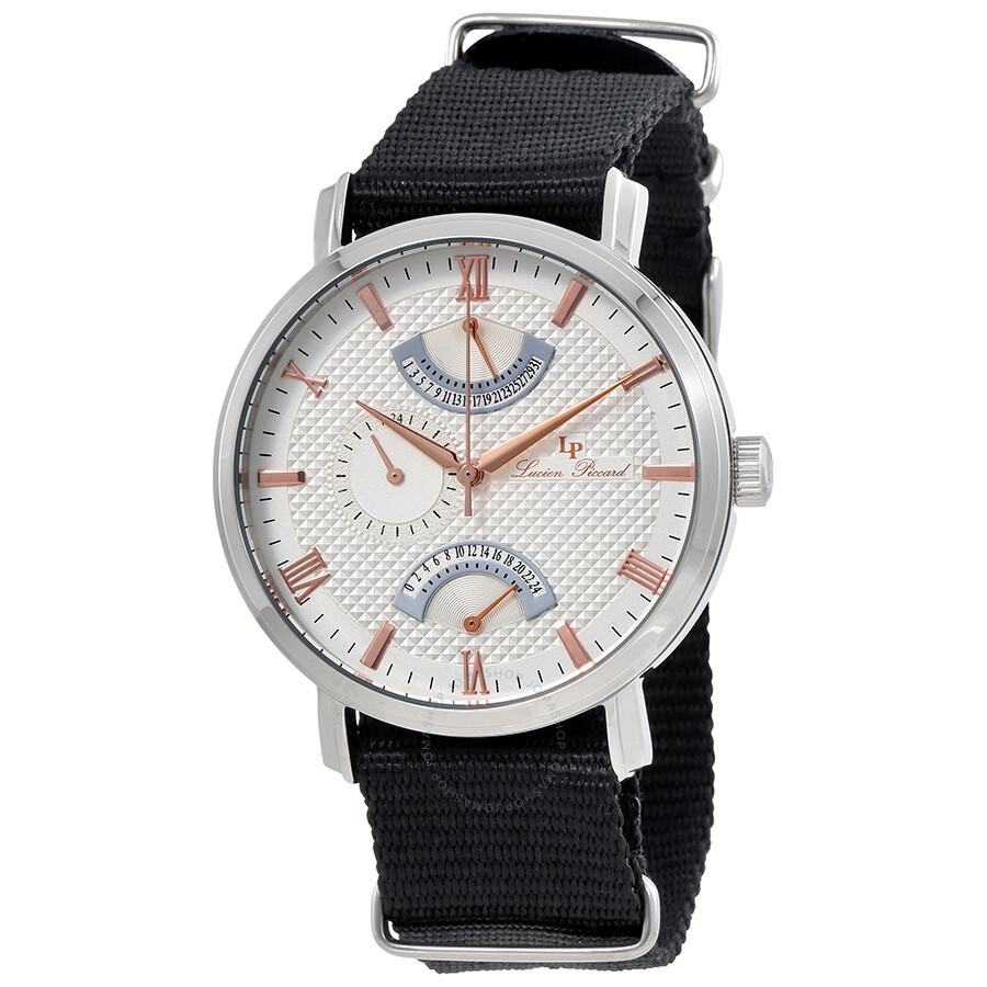 Lucien Piccard Verona Silver Dial Men's Black Textile Watch