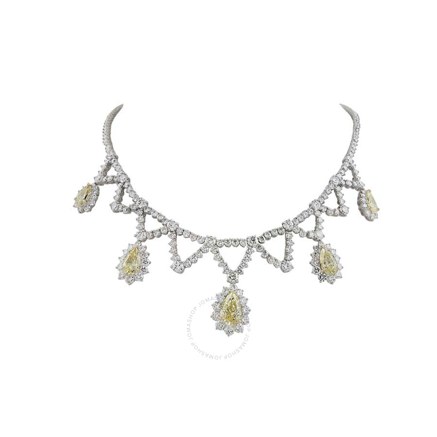 Luxurious Diamond Necklace with Yellow Pear Drop Diamonds 27.98 CT
