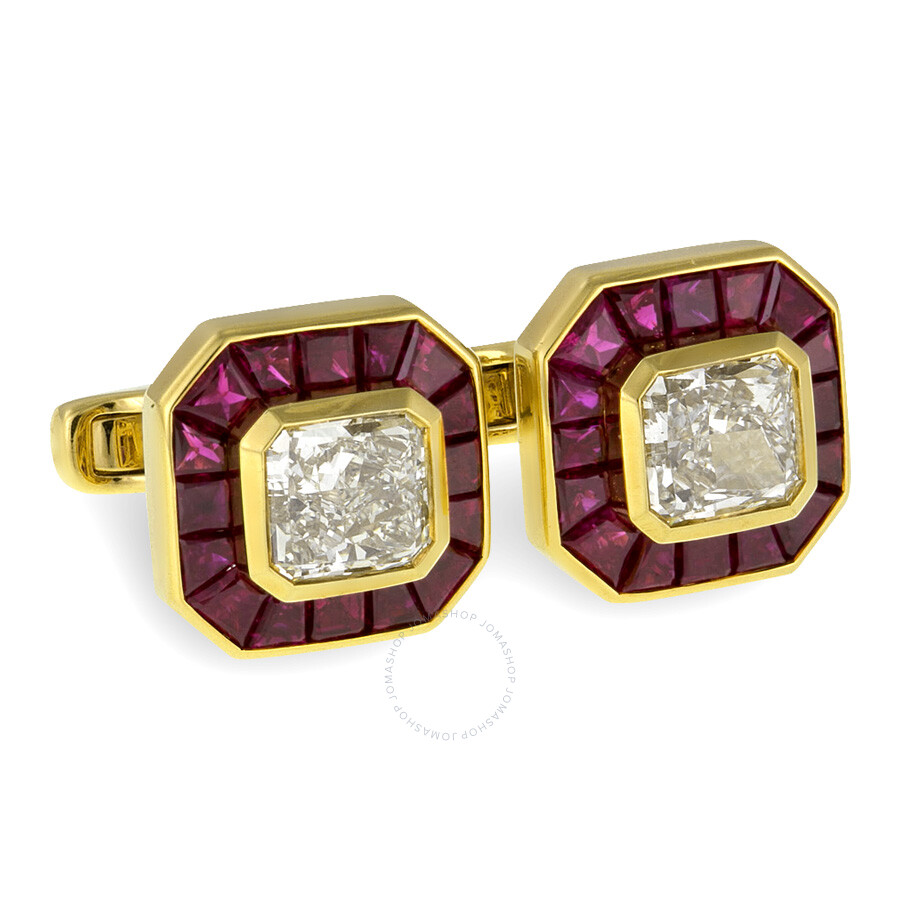 Luxury Rubies and Yellow Radiant Diamond Cufflinks 11.17 cts