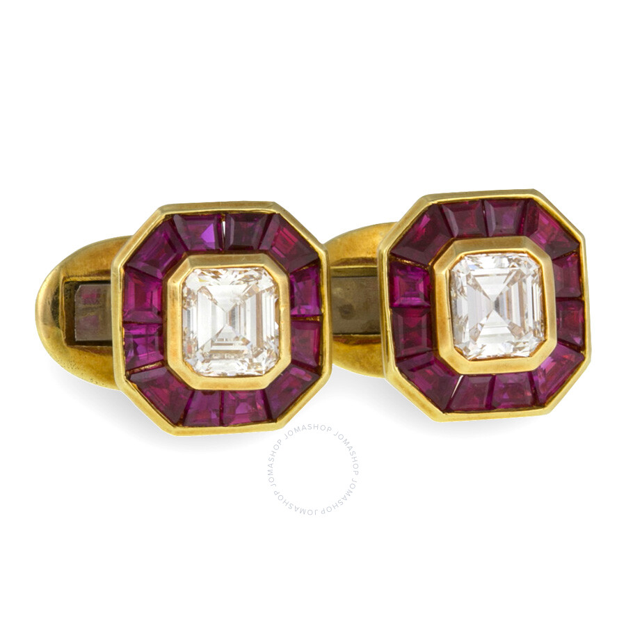 Luxury Ruby and White Emerald cut Diamond Cufflinks 5.19 cts