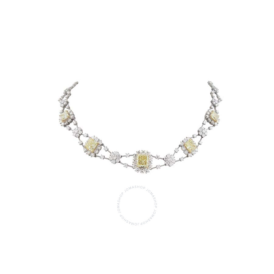 Magnificent Fancy Light Yellow Radiant  and White Diamond Necklace 21.68 CT