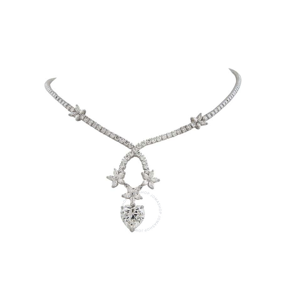 Magnificent Heart and Flower Diamond Necklace 12.09 CT