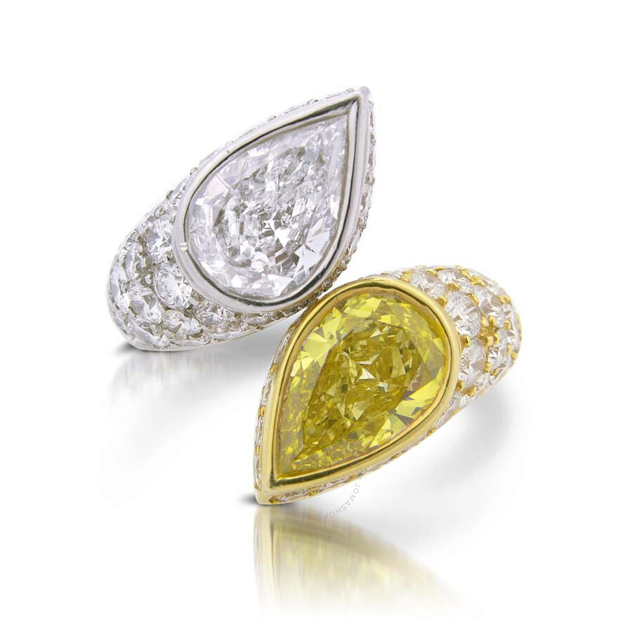Magnificent Pear Shaped Yellow & White Diamond Ring  9.18 CT