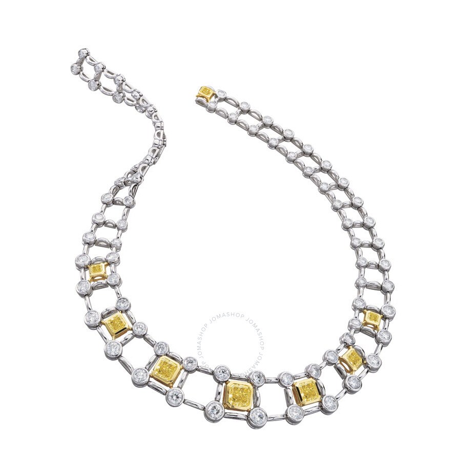 Magnificent Radiant Railroad Style Diamond Necklace 25.35 CT