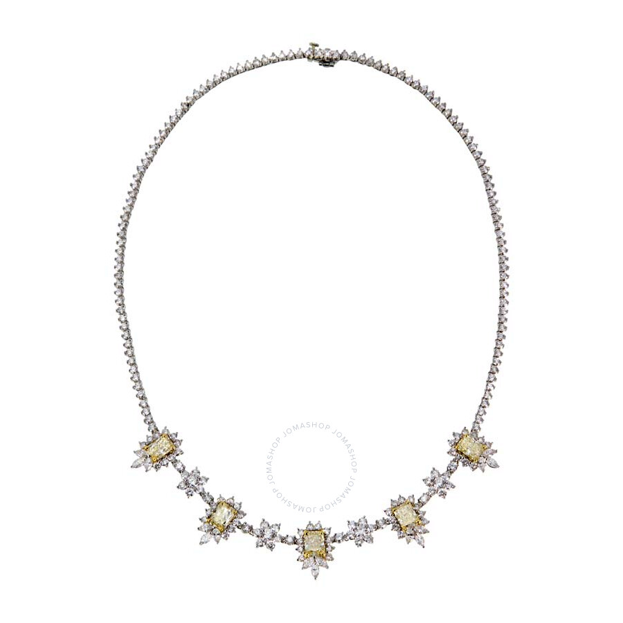 Magnificent Yellow Radiant Floral Style Diamond Necklace 18.85 CT