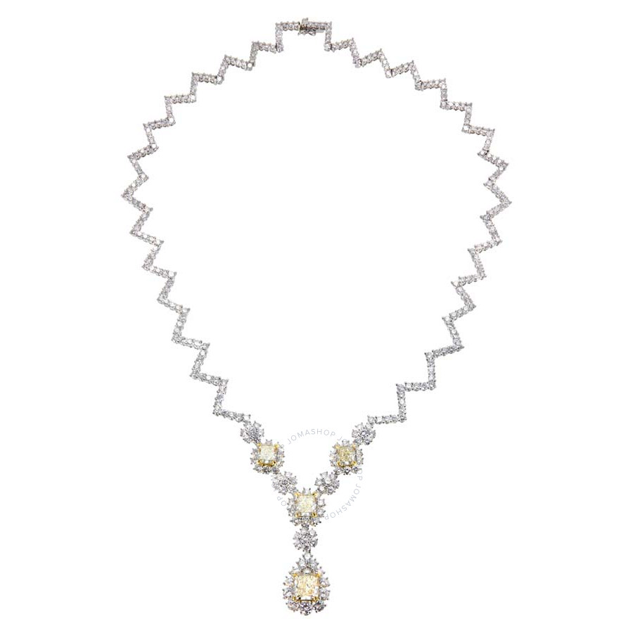 Magnificent Yellow Radiant Shaped Diamond Necklace 18.65 CT