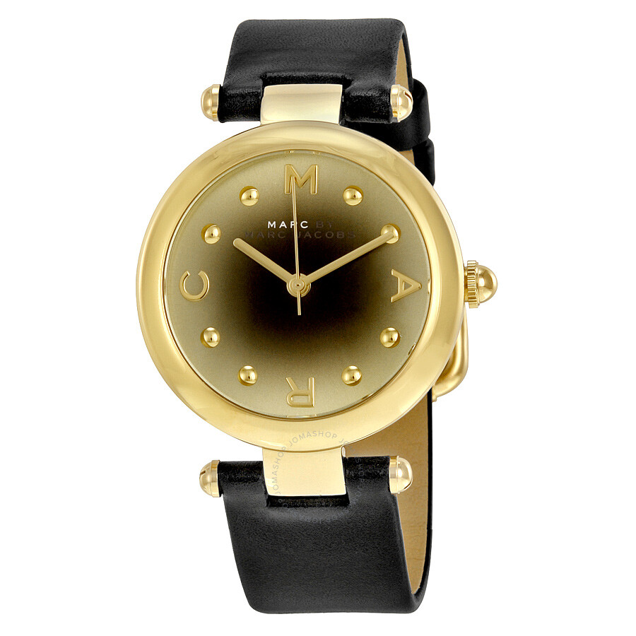 Marc by marc jacobs dotty gold to black gradient dial black leather ladies watch mj1409 marc for Gradient dial watch