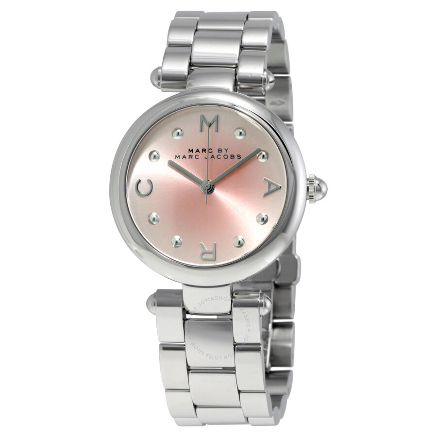 marc by marc jacobs female 243279 marc by marc jacobs dotty pink sunray dial ladies watch mj3447