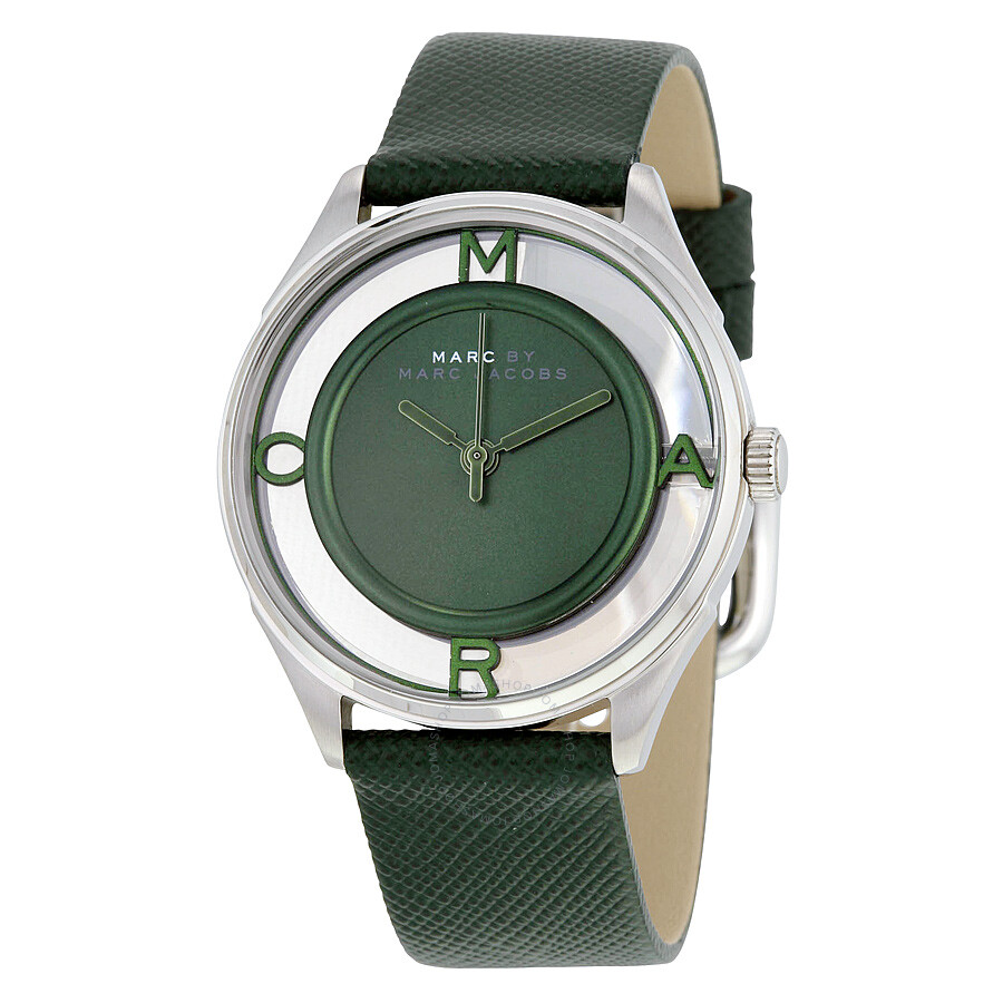 Marc by Marc Jacobs Green Transparent Dial Green Leather Ladies Watch MBM1378