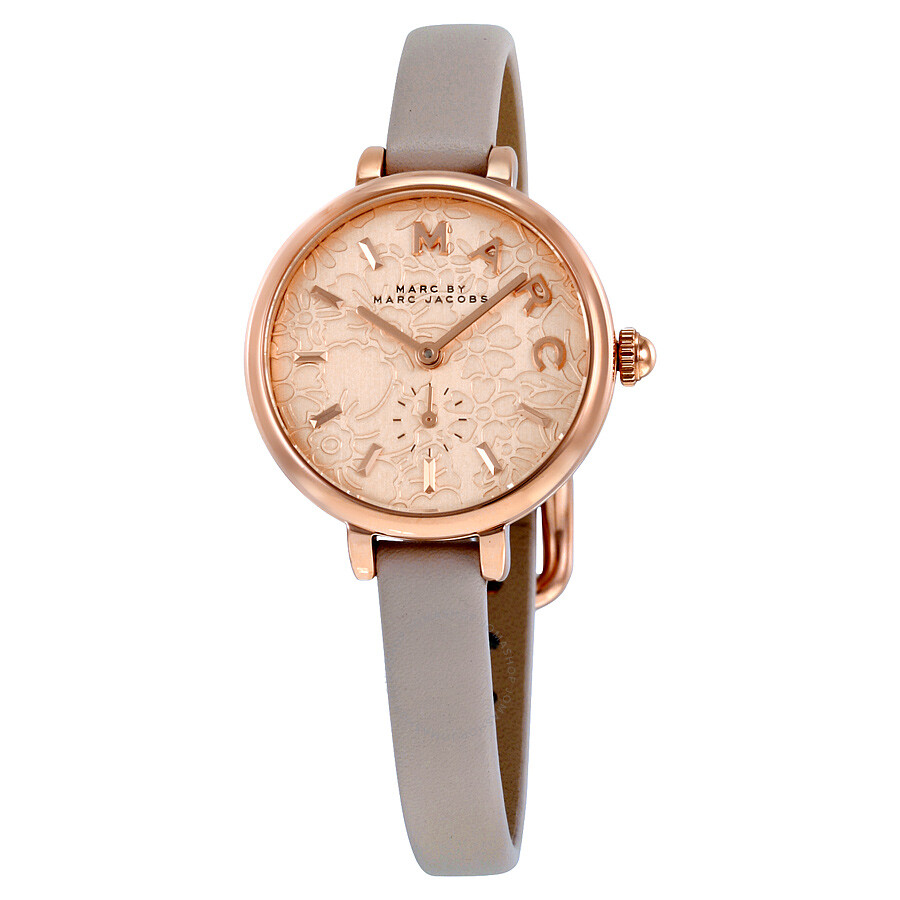 marc by marc jacobs female 124234 marc by marc jacobs rose dial grey leather ladies watch mj1421