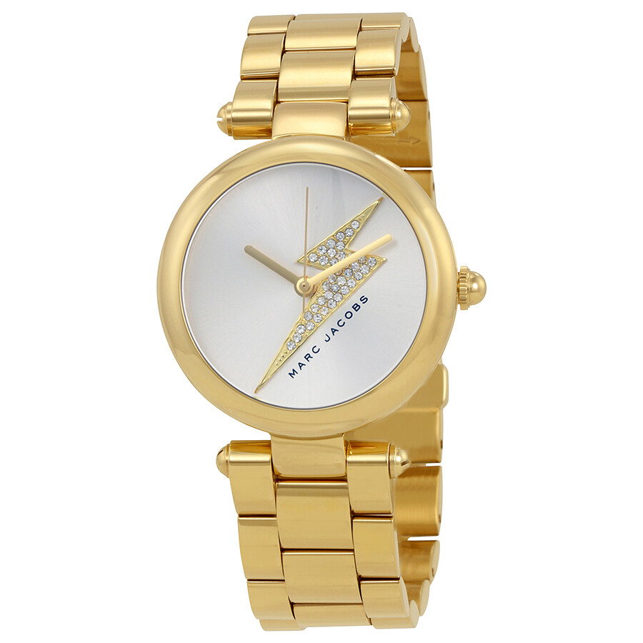 marc jacobs female marc jacobs dotty silver sunray dial ladies gold tone watch mj3545